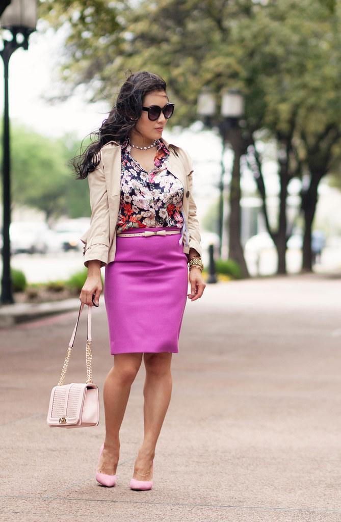 cute & little blog | petite fashion | forever 21 cropped trench coat, floral shirt, bow belt, fuschia no. 2 pencil skirt, pink pumps, minkoff love pink crossbody | spring outfit