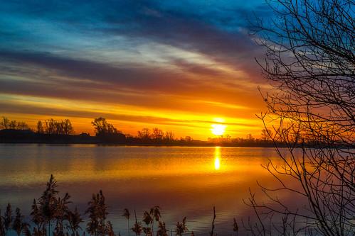mepal bodiesofwater breakofday cambridgeshire dawn daybreak early england europe lake morning propernouns space sun sunrise sunup time topography unitedkingdom
