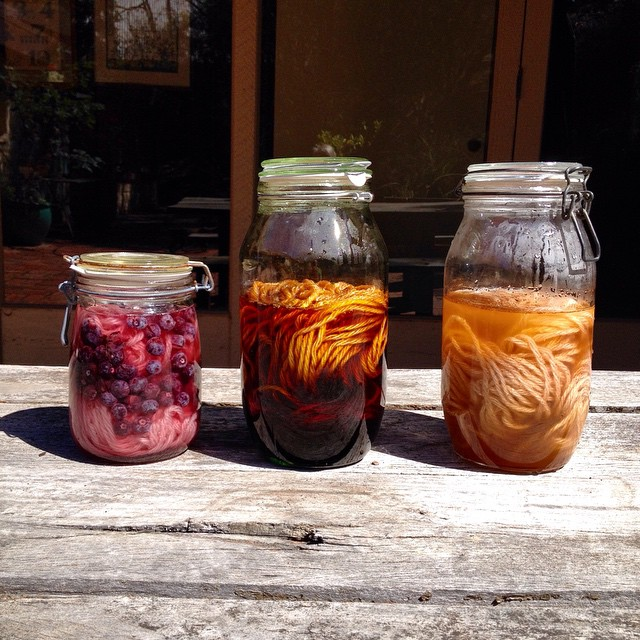 Solar dyeing: blueberry, logwood, madder.