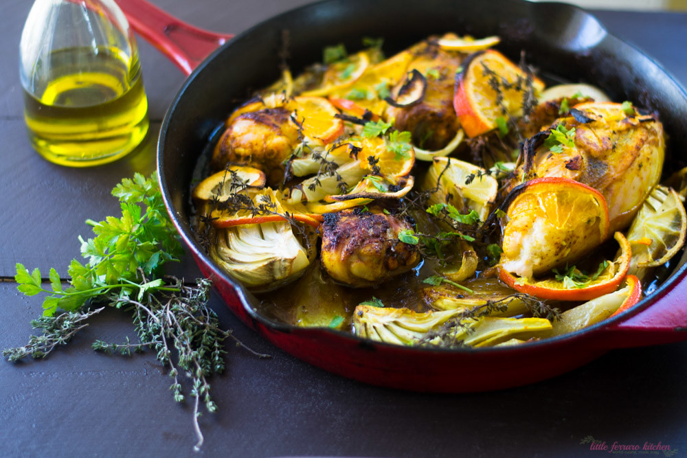 Olive Oil Braised Chicken With Citrus Fennel And Turmeric The