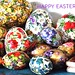 ANTIQUE PAPER MACHE EASTER EGGS - Floral patterns 1920s Germany