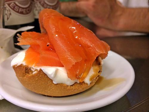Salmon, yogurt, and truffled honey montadito
