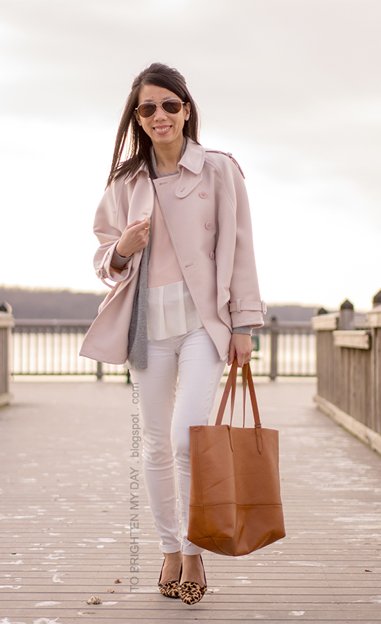 pink trench cape, gray sweater, colorblocked peplum top, white jeans, leopard print flats