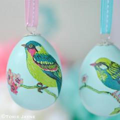 Decoupage bird eggs