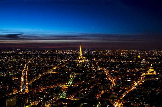 Vue sur Paris depuis Montparnasse, la nuit