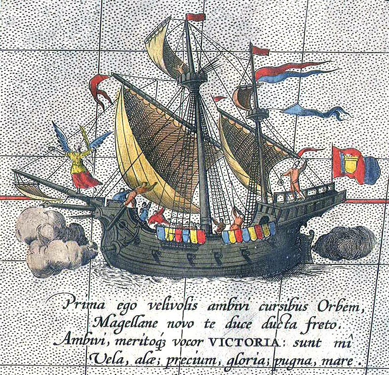 Magellan's ship Victoria on map of Ortelius