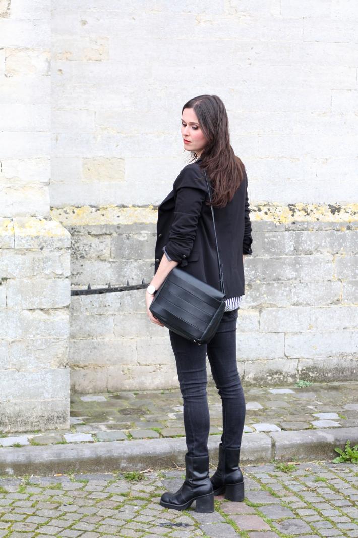 outfit: blazer, platform boots, skinny jeans