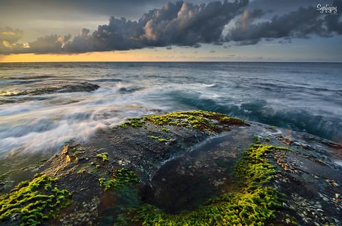 sunset seascape water rock moss nikon asia malaysia flare sabah southchinasea neutraldensity tipofborneo 3stop d7000 photofibre syafiqjay rgnd8 reversegradualneutraldensity mossonsabahbeach sidelighthingatborneo mossatborneobeach