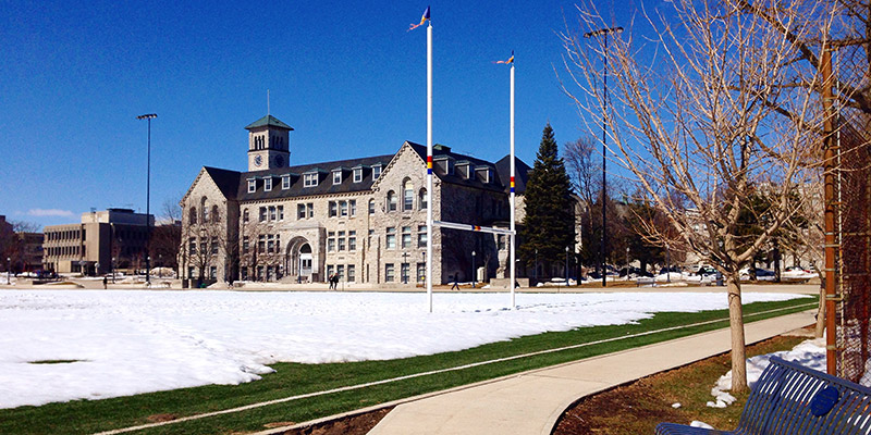 Thanks to Instagram user emmarosez for sharing this sunny day photo of the snow melting (finally) on Nixon field.