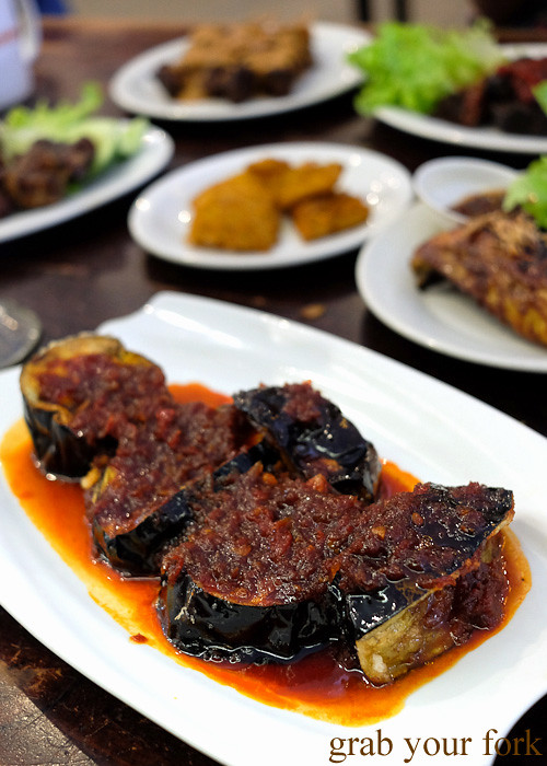 Terong belado stir fried eggplant in mild chilli sauce at Indo Rasa, Kingsford