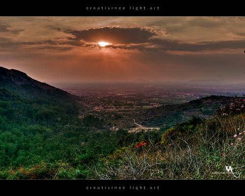 sunset sun clouds horizon hill valley karnataka hdr nandihills creativince