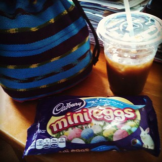 Happy Friday afternoon... Salted caramel #icedlatte , #Cadbury #minieggs , and #knitting