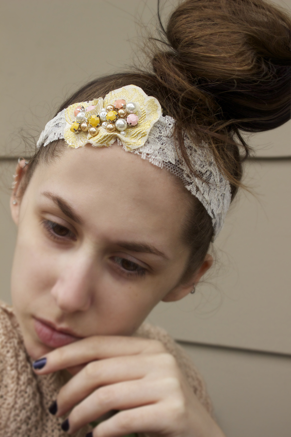 vintage lace headband diy by quiet lion creations
