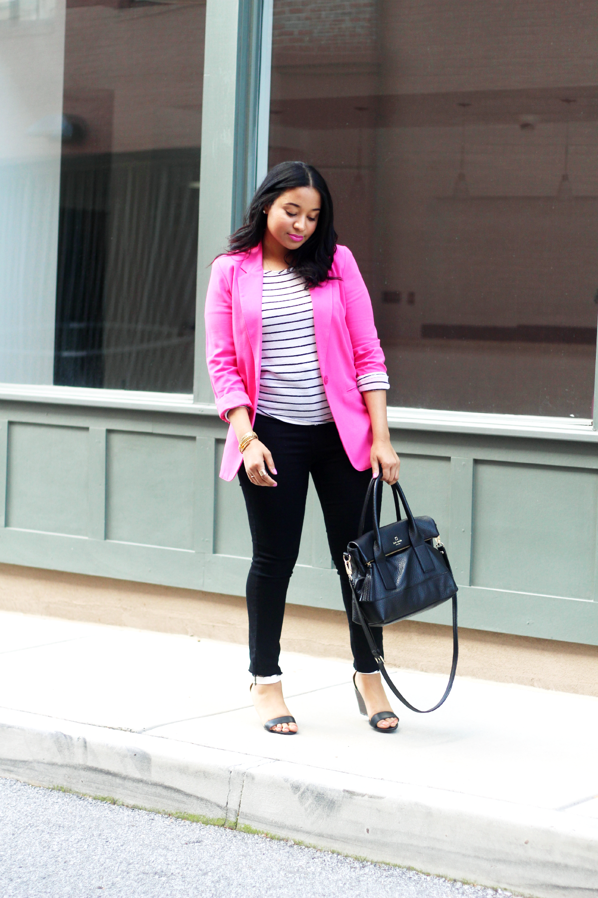 Pink Blazer & Stripes