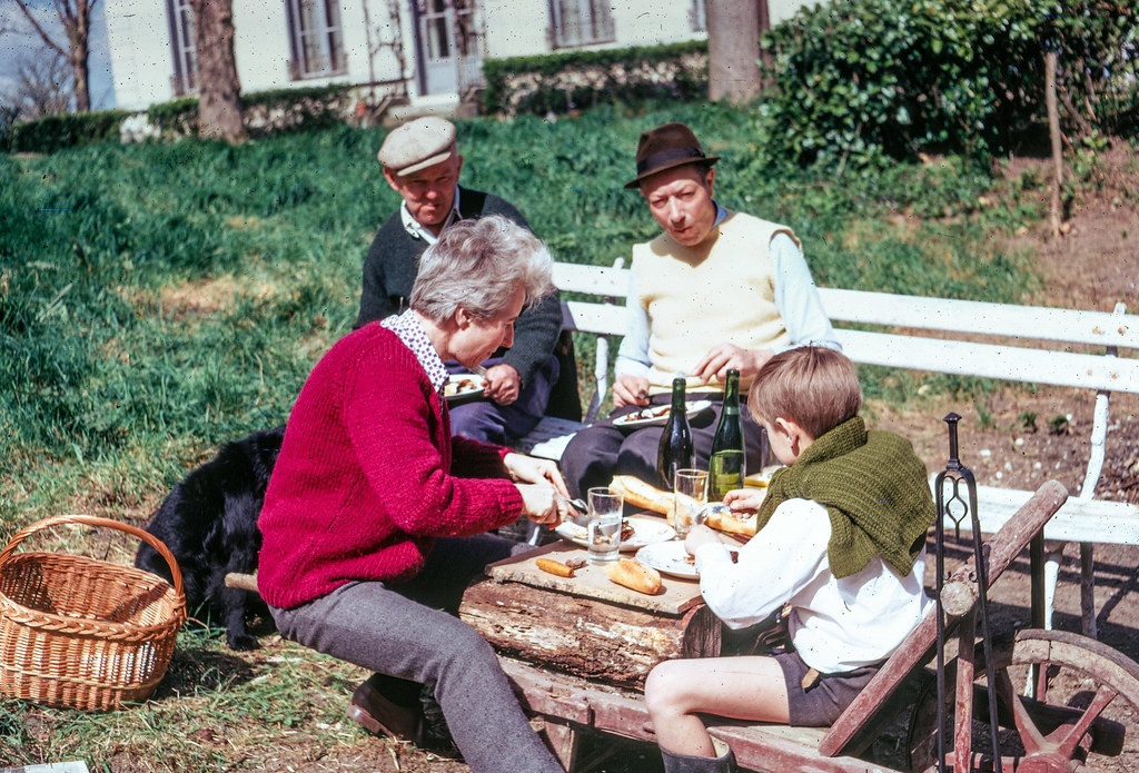 Lunch in France - Kodachrome Slide - May 1969