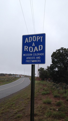 road cleanup roadsign adoptaroad wcaf westerncoloradoatheistsfreethinkers