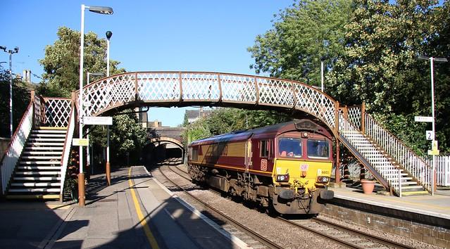 DB Cargo 66 103 runs light through Stamford