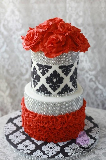 Red White and Damask Wedding Cake by Sonia Huebert of Name Cakes by Sonia