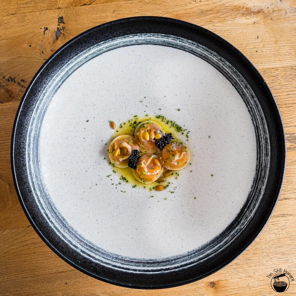 LuMi Dining Pyrmont Spelt ravioli w/burnt butter, pumpkin, avruga & chives