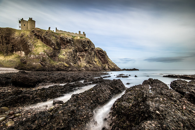 Dunnottar castle from the beach, Stonehaven, Scotland, United Kingdom