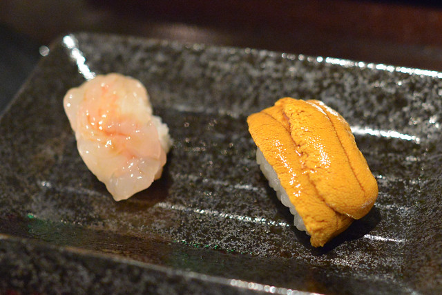 sweet shrimp and sea urchin