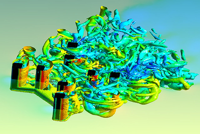 This computer simulation of vortex induced motion (VIM) from Los Alamos National Laboratory shows how ocean currents affect offshore oil rigs. Vortex shedding affects the integrity of key components of offshore drilling stations, which directly impact system safety. The large size and complex physics of this problem requires advanced numerical simulations using supercomputers.