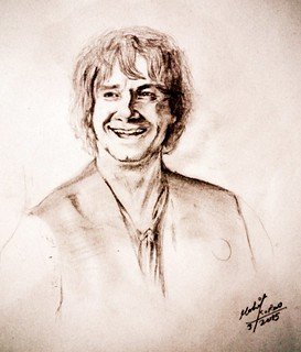 Martin Freeman as Bilbo baggins pencil drawing by mohit kumar rao artist 2015