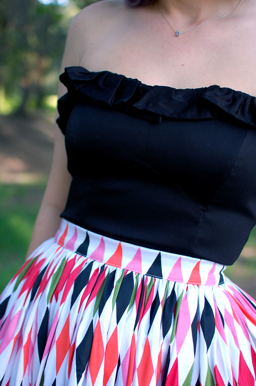 Pinup Girl Clothing Pinup Couture Jenny skirt in Harlequin Dixiefried Bustier top