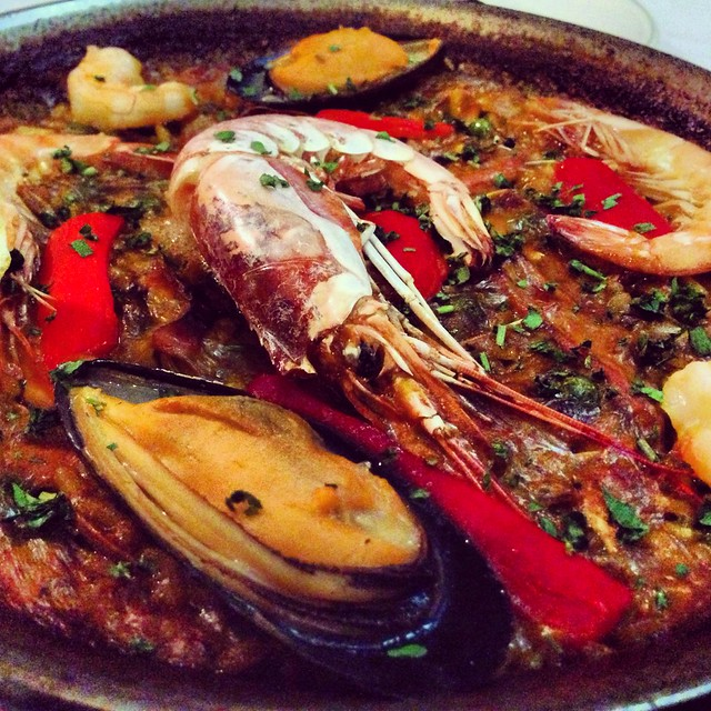 El Cortijo's Seafood Paella is marvelously delicious