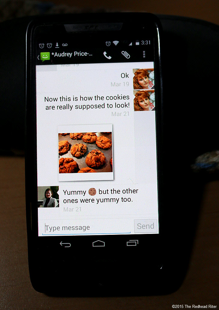 sister cell phone chocolate chip cookie Modern Technology Connects Across The Miles 3