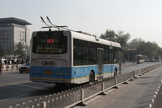 Trolleybus running on battery power through the Wangfujing district of central Beijing | by Marcus Wong from Geelong