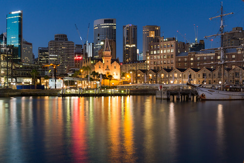 city blue reflection water twilight sydney