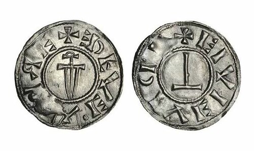Viking penny with the Christian Cross and Thor's hammer,