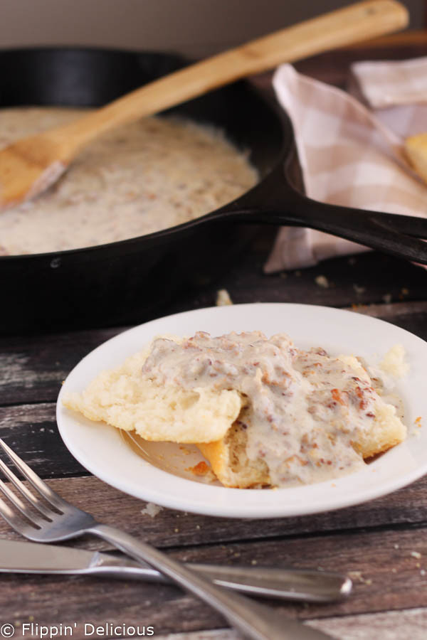 Creamy gluten-free sausage gravy is simple to make, full of flavor, and perfect over fresh gluten- free biscuits.