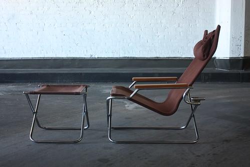 ***ON DECK***Appealing Shigeru Uchida Japanese Modern Folding Z Chair and Ottoman (Japan, 1970s)