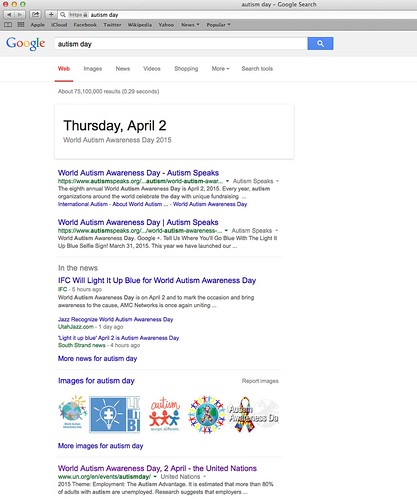 Google Search: Autism Day