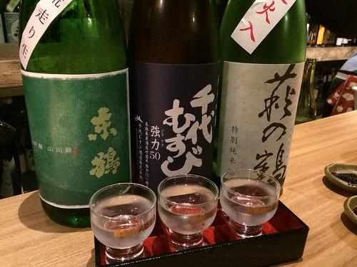 飲み比べ。東鶴、千代むすび、萩の鶴@Sake Fun ぞっこん。