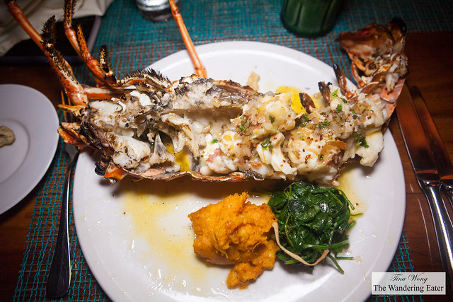 Grilled local lobster, passion fruit mustard sauce, gingered sweet potato, toasted garlic spinach