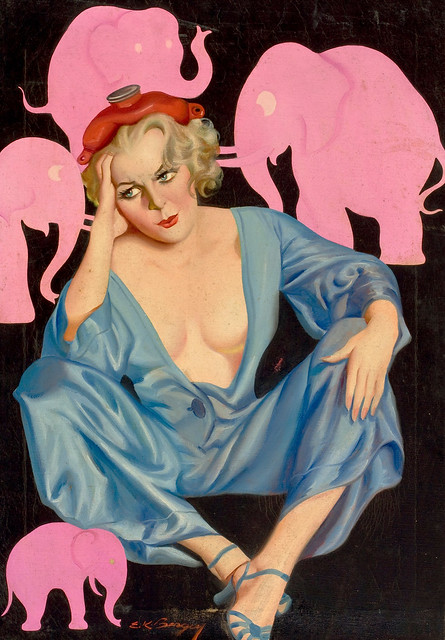 Pink Elephants, Bedtime Stories cover, August 1935 by Earle K. Bergey