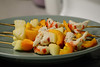 "Onion, Pepper, ""Shrimp"" Skewers (Vegan)"