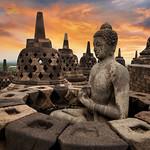 Buddha Sunrise in Borobudur, Magelang, Central Java, Indonesia