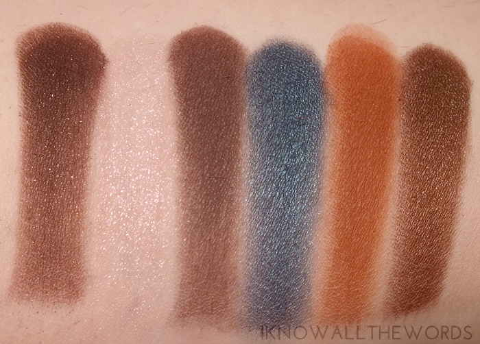 too faced semi-sweet chocolate bar palette swatches middle row