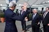 Secretary Kerry Greets Energy Secretary Moniz During Their Lunch Break Amid Iranian Nuclear Talks in Switzerland