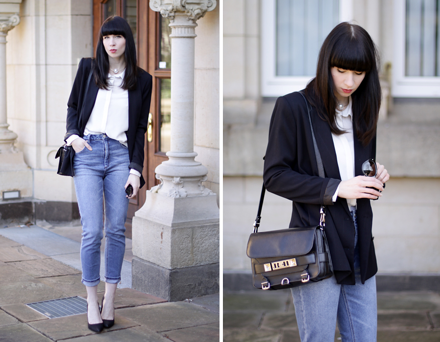 fashion fashionblogger outfit jeans blazer simple business look asos zara topshop proenza schouler brunette bangs ricarda schernus blog blogger germany 2