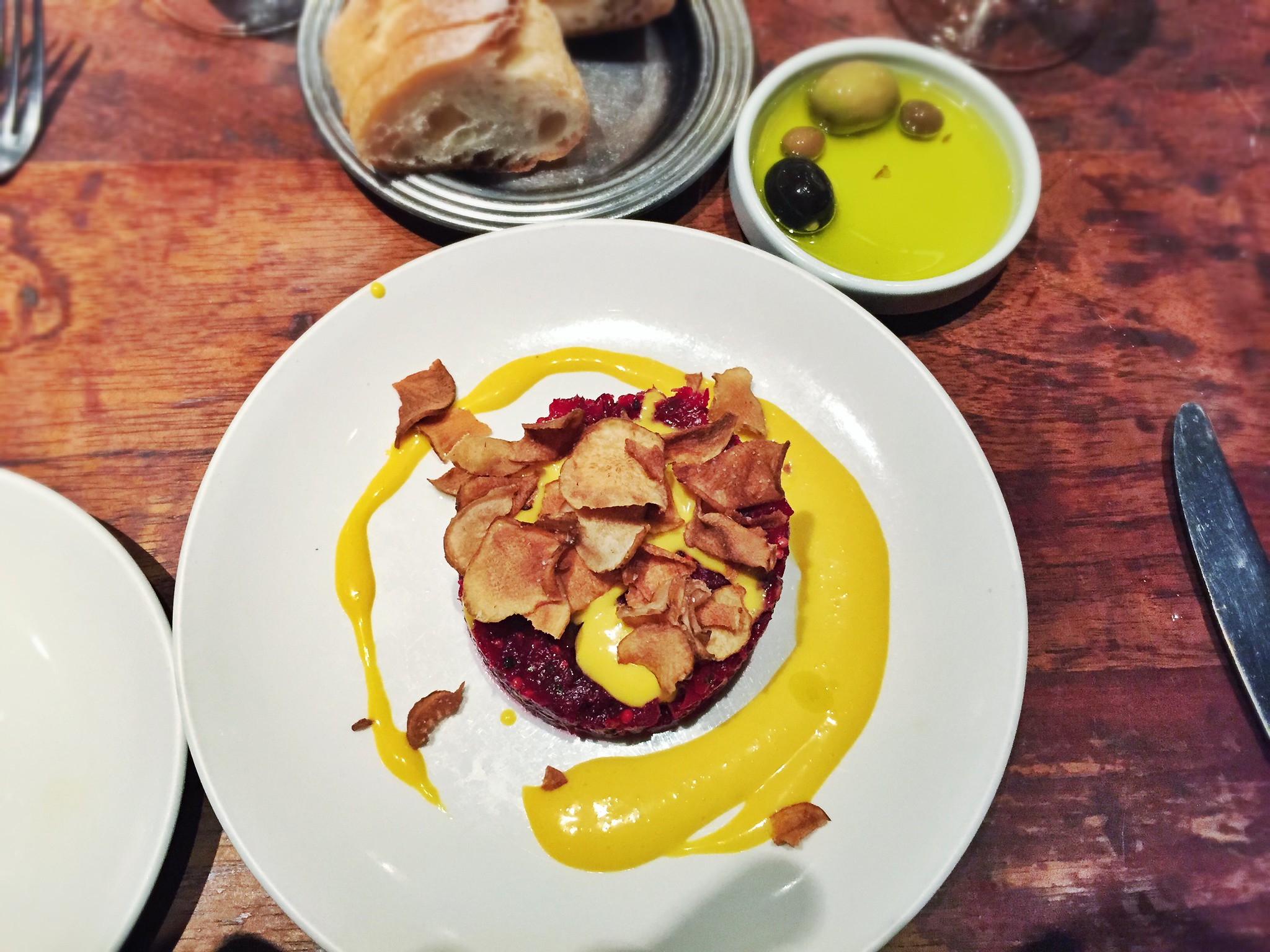 Roasted Beet Tartare with Yellow Beet Brown Butter and Sunchoke Chips ...