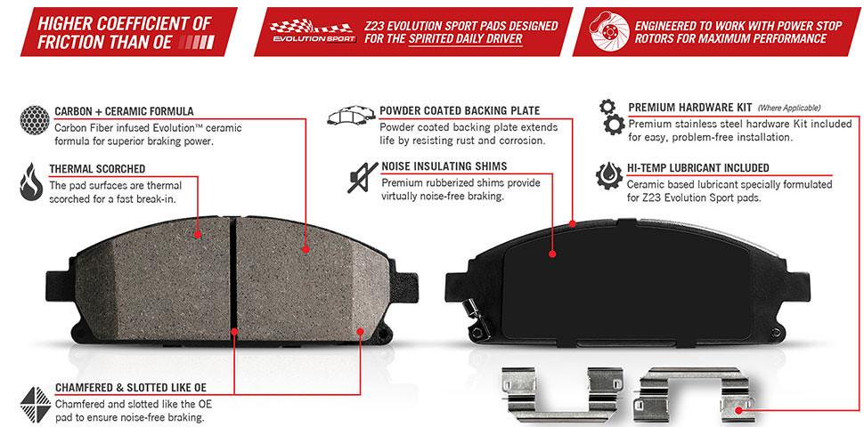 Powerstop Z23 Evolution Front Amp Rear Brake Pads 15