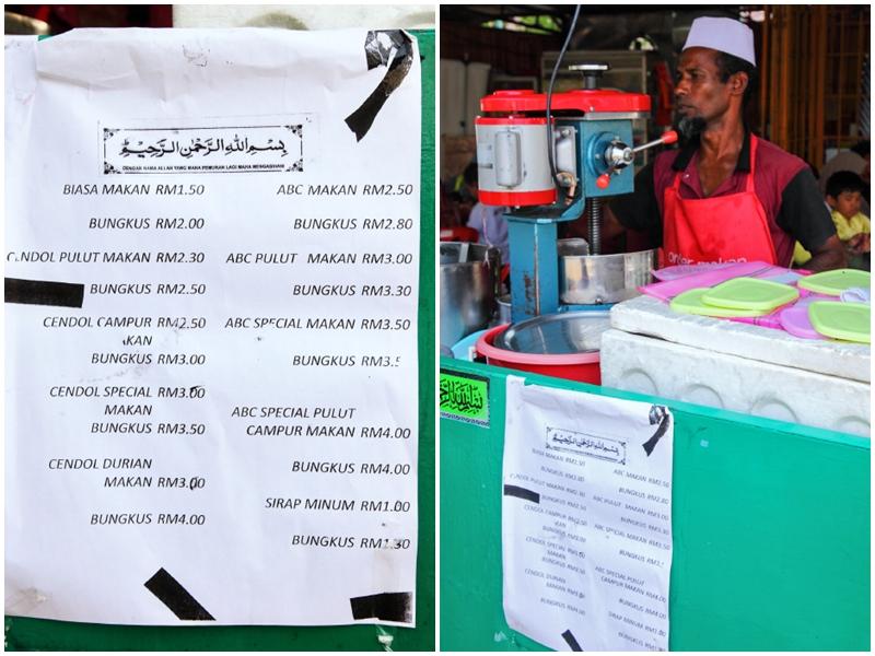 Cendol Melaka Price List