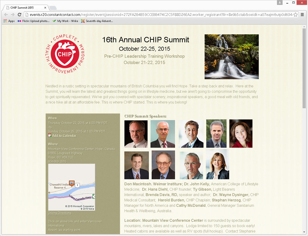 CHIP SUMMIT – OCTOBER 21-25, 2015 – MOUNTAINVIEW CONFERENCE CENTRE/CAMP HOPE