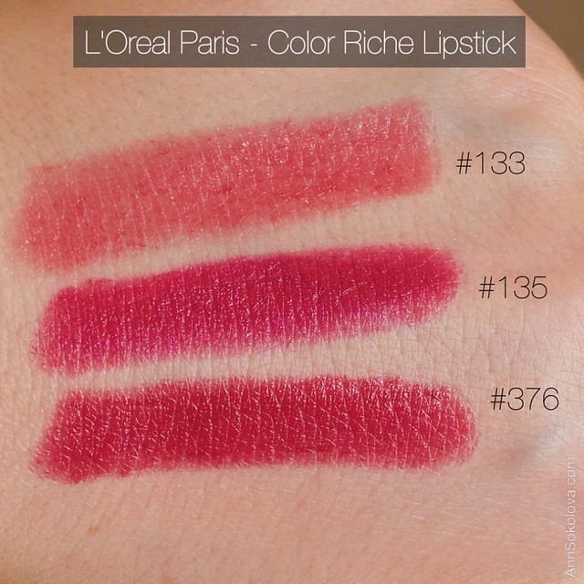 08 L'Oreal Paris Color Riche Lipstick 30 years new shades 133, 135, 376 swatches