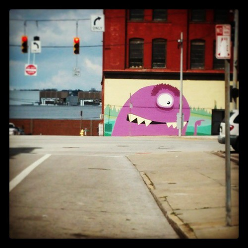 There's a monster at the corner of Central Parkway and 14th Street in Over-the-Rhine...